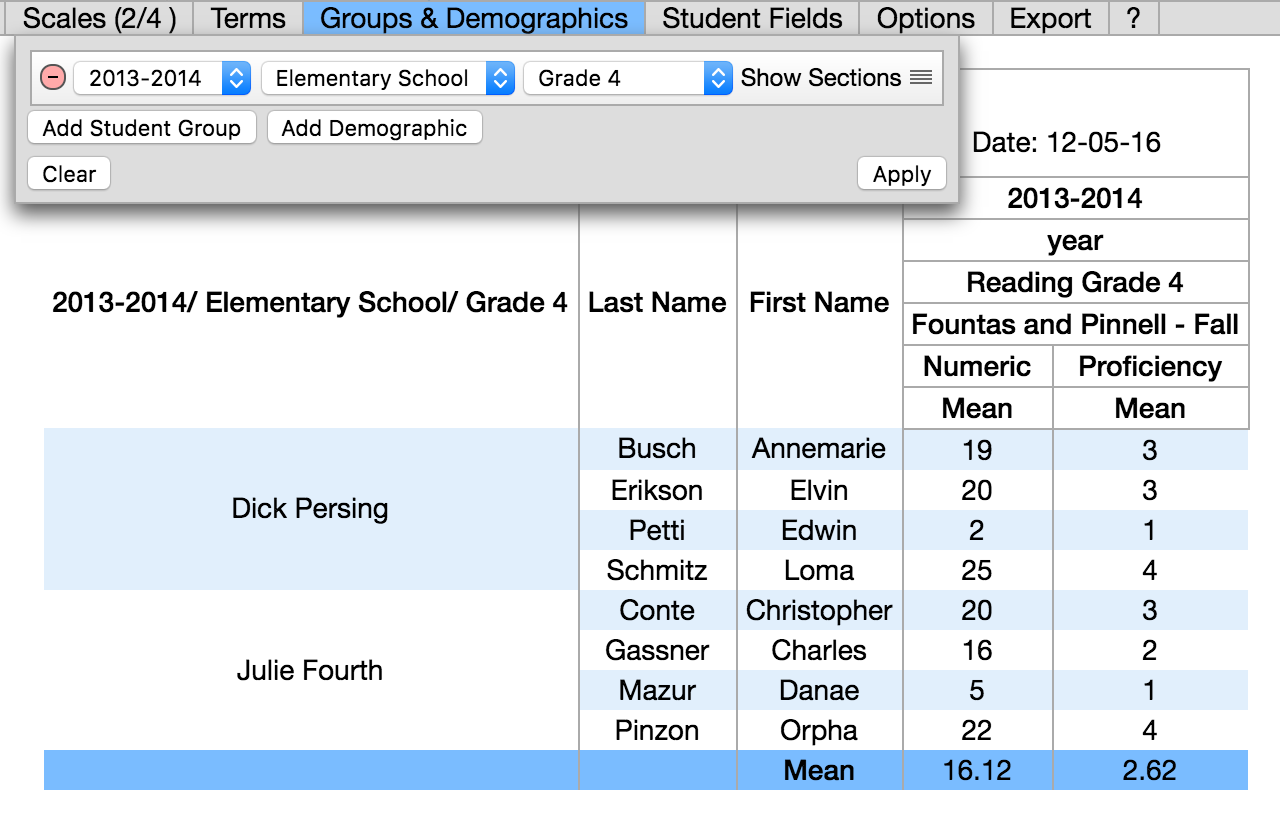 Wiki StudentUnitReport AddGroups Year School Course Sections Showing.png